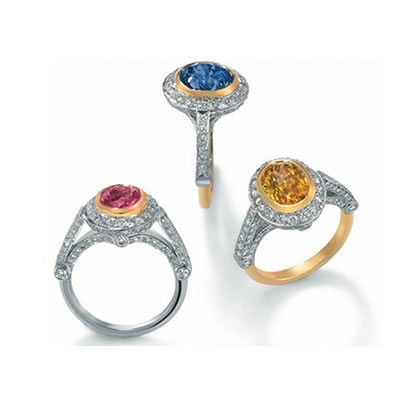 Blue, Yellow or pink Sapphire with Diamonds