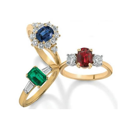 Sapphire, Emerald or Ruby & Diamond Engagaement Rings