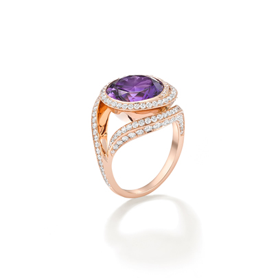 Mystery-cut Amethyst & Diamonds in 18ct Rose Gold