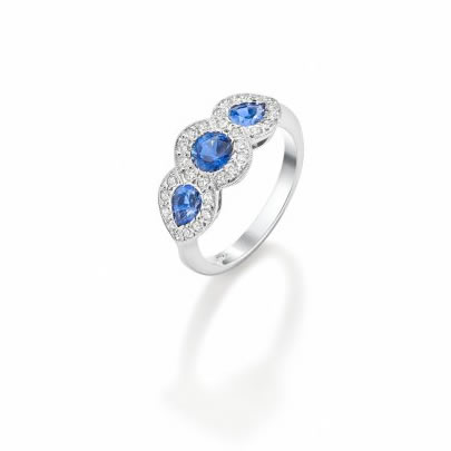 Sapphire & Diamond Triple Cluster Ring 18ct White Gold £3875 (Sapphires 1.50cts Diamonds 0.36cts)