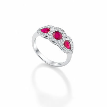 Ruby & Diamond Triple Cluster Ring 18ct White Gold £3970 (Rubies 1.40cts Diamonds 0.28cts)