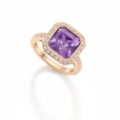 Amethyst, Ruby & Diamond Cluster Ring 18ct Rose Gold £3250 (Amethyst 3.96cts Diamonds 0.42cts Rubies - around sides of ring - 1.28cts)
