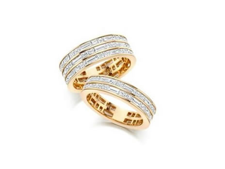 Dot-Dash Ring. Available in 18ct Gold or Platinum. Princess & Baguette Diamonds in various weights