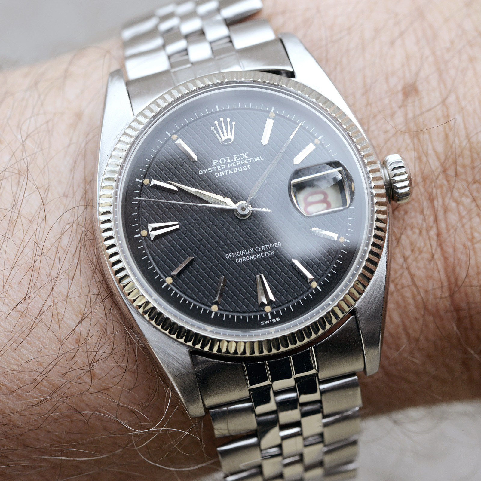 Rolex Datejust ref-6305 Waffle Dial Bulang and Sons