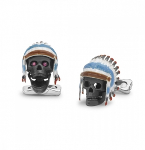 Sterling Silver Native American Skull Cufflinks