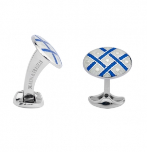 Sterling Silver Royal Blue & Clear Fancy Pattern Enamel Cufflinks