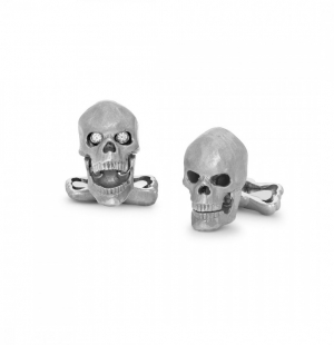 18ct White Gold Skull Cufflinks with Diamond Eyes